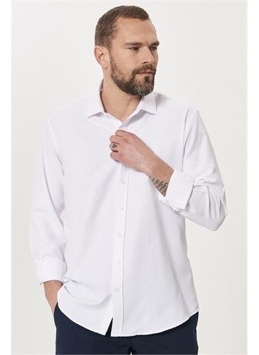Altınyıldız Classics Regular Fit Bol Kesim Klasik Gömlek Yaka Armürlü Gömlek 4A2021200042 Beyaz